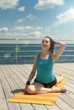 Yoga. Straight leg raise. Royalty Free Stock Photography