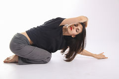 Yoga stretch on the floor Royalty Free Stock Photography