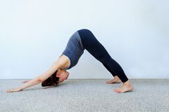 Yoga students showing different yoga poses.  Royalty Free Stock Images