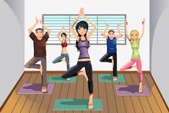 Yoga students at yoga studio. A vector illustration of yoga students practicing yoga at a yoga studio Royalty Free Stock Photography