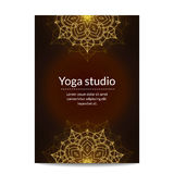 Yoga studio banner with gold glitter ethnic floral mandalas Royalty Free Stock Images