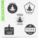 Yoga studio, fitness and meditation class. Set of typographic labels, stickers, logos and badges. Stock Photos