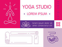 Yoga studio flayer in modern color block and thin line style. Yoga elements also can be used in web design and etc. Stock Photo
