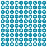 100 yoga studio icons sapphirine violet. 100 yoga studio icons set in sapphirine hexagon isolated vector illustration Stock Images