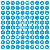 100 yoga studio icons set blue. 100 yoga studio icons set in blue hexagon isolated vector illustration Royalty Free Stock Photos