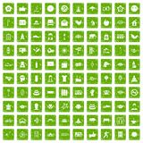100 yoga studio icons set grunge green Royalty Free Stock Image