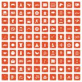 100 yoga studio icons set grunge orange. 100 yoga studio icons set in grunge style orange color isolated on white background vector illustration Royalty Free Stock Photography
