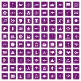 100 yoga studio icons set grunge purple. 100 yoga studio icons set in grunge style purple color isolated on white background vector illustration Royalty Free Illustration