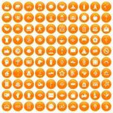 100 yoga studio icons set orange. 100 yoga studio icons set in orange circle isolated on white vector illustration Stock Illustration