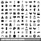 100 yoga studio icons set, simple style. 100 yoga studio icons set in simple style for any design vector illustration royalty free illustration