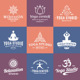 Yoga Studio Labels, Icons and Design Elements Royalty Free Stock Images