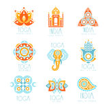 Yoga studio labels set, stylized famous spiritual Indian symbols, colorful vector Illustrations. For spa, yoga center Royalty Free Stock Photos