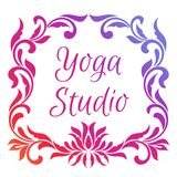 Yoga studio logo. Template of poster with lotus flower and frame of floral elements. Isolated on white background Stock Photos