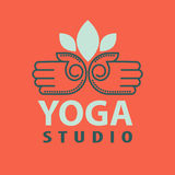 Yoga studio logotype with open palms isolated vector illustration Royalty Free Stock Photography