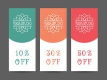 Yoga Studio Vector Discount Coupon Template Stock Photos