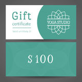 Yoga Studio Vector Gift Certificate Template Royalty Free Stock Images