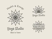 Yoga Studio Vector Logo Template Set Royalty Free Stock Photos
