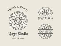 Yoga Studio Vector Logo Template Set Royalty Free Stock Image