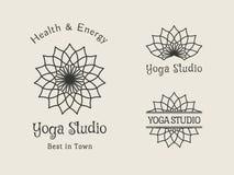 Yoga Studio Vector Logo Template Set Royalty Free Stock Photography