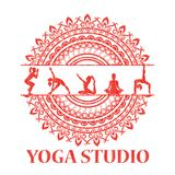 Yoga style mandala with silhouettes in yoga poses. Royalty Free Stock Photos