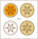 Yoga-style  patterns set Royalty Free Stock Photo