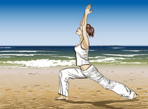Yoga on a summer beach Royalty Free Stock Image