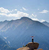 Yoga at summit Stock Photography