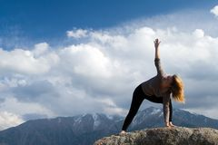 Yoga at summit Royalty Free Stock Photo