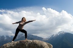 Yoga at summit Royalty Free Stock Photography