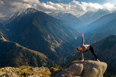 Yoga at summit Royalty Free Stock Photos