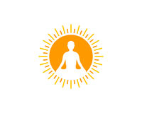 Yoga Sun Icon Logo Design Element royalty free illustration