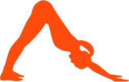 Yoga sun salutation - Position parvatasana. Vector icon Stock Photos