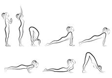 Yoga sun salutation set, vector. Set of sun salutation yoga exercises,  vector illustration Stock Photography