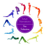 Yoga Sun salutation. Vector watercolor illustration of yoga exercise Sun Salutation Surya Namaskara. Bright colorful silhouettes of slim women in different yoga Stock Images