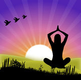 Yoga at sunrise. A young girl practicing yoga in the sunset. created in illustrator Stock Image
