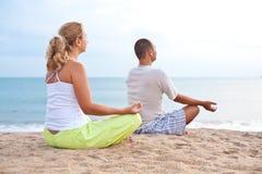 Yoga at sunrise time Royalty Free Stock Photo