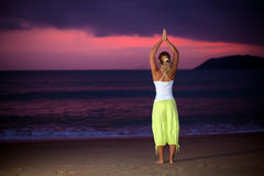 Yoga at sunrise time Royalty Free Stock Photos