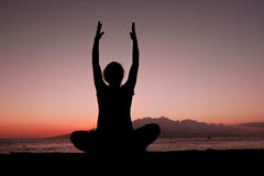Yoga in Sunset Stock Image