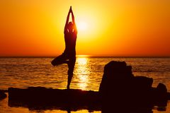 Yoga on sunset Stock Image