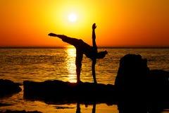 Yoga on sunset Stock Photography