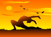 Yoga at sunset. A young girl practising yoga in the sunset. Vector illustration royalty free illustration
