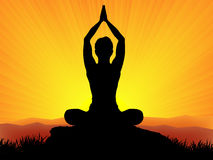 Yoga at sunset. Man at yoga on sunset vector stock illustration