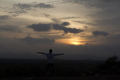 Yoga and Sunset Stock Images