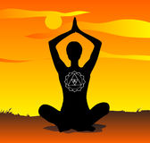 Yoga at sunset vector Stock Image