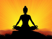 Yoga at sunset. Woman in yoga at sunset vector Stock Photography