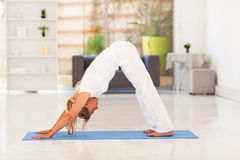 Yoga supérieur de femme Photographie stock