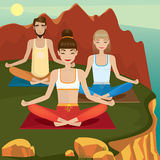 Yoga supporters practice on open air Royalty Free Stock Photos