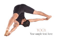 Yoga supta konasana halasana Haltung Stockfotos