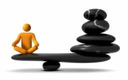 Yoga sur la pile en pierre équilibrée illustration libre de droits