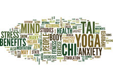 Yoga Tai Chi And The State del concetto di Zen Text Background Word Cloud Immagine Stock Libera da Diritti